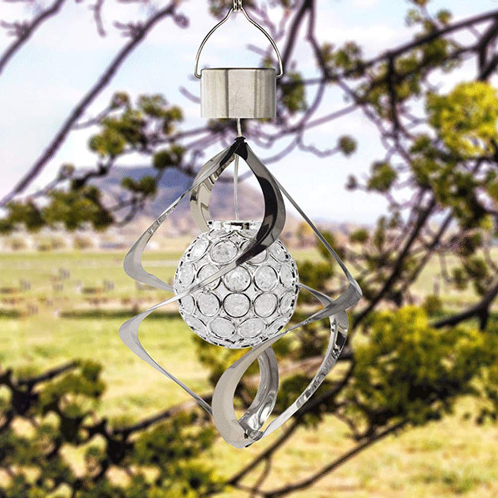 POEwjCCk Solar Wind Chimes with LED Light 10.24 x 6.30 Rainproof Changing Color Hanging Light for Garden Yard Balcony Decor Lamp