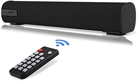 QSPORTPEAK Barra de Sonido con Control Remoto, Altavoces Bluetooth Altavoz portátil con Cable e inalámbrico, Estéreo Superior Sonido Graves Profundos para TV/PC/Teléfonos/Tabletas: Amazon.es: Electrónica
