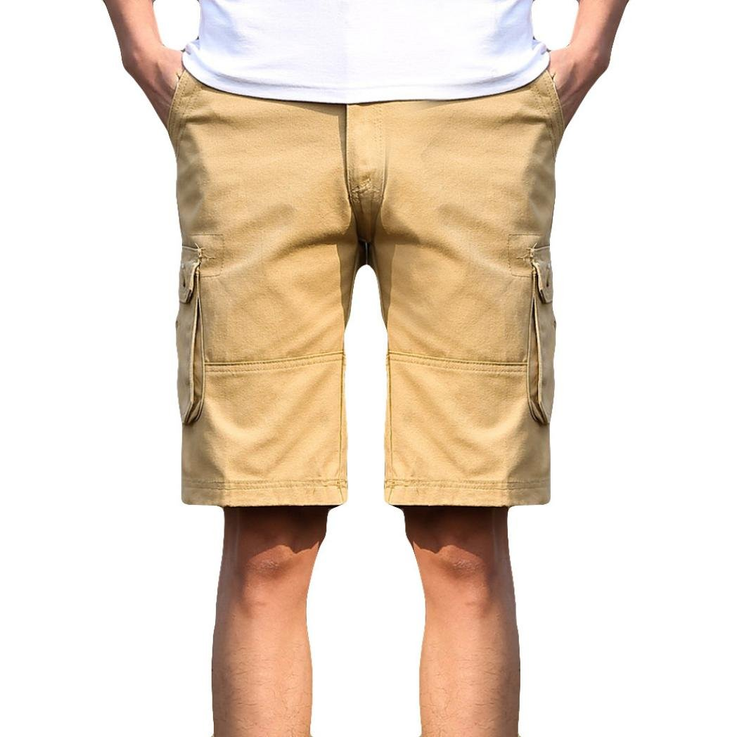 2018 New Hot! Classic Fashion Mens Casual Pocket Beach Work,PASATO Casual Short Trouser Shorts Pants(Khaki, 30)