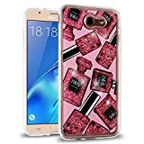 Samsung Galaxy J7 Prime / J7 V / J7 Perx / J7 Sky Pro / J7 2017 Case, Flowing Glitter Quicksand with Designer Image, Slim Fit Transparent Soft Cover with Film Screen Protector - Perfume Bottles