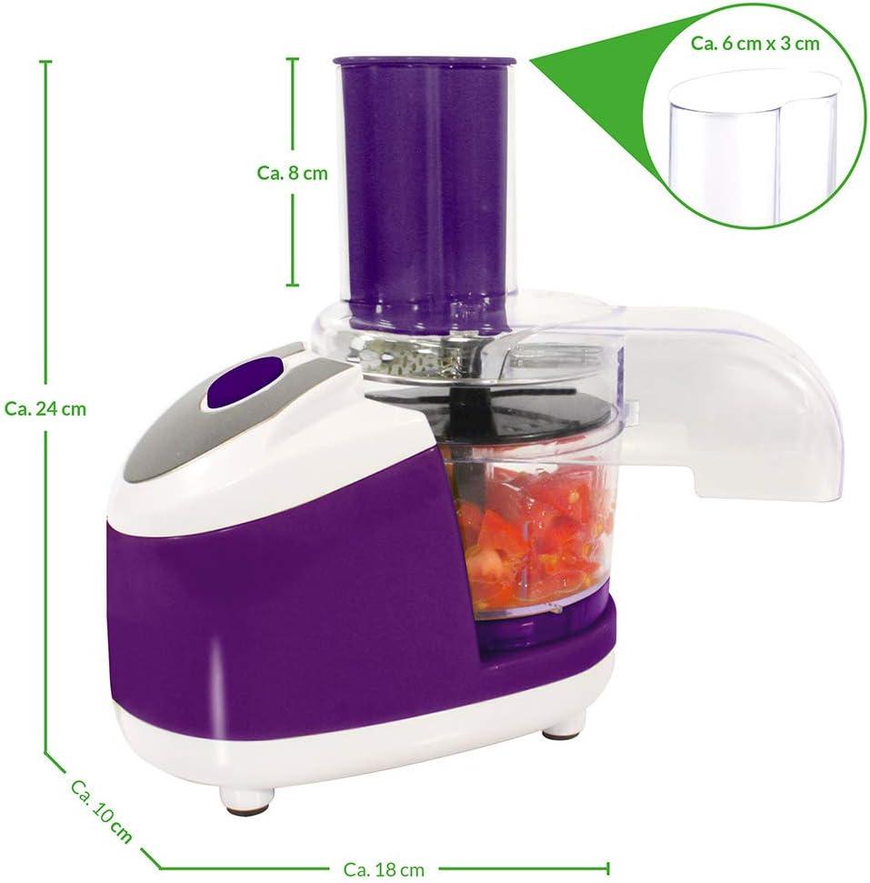 Robot de cocina Chef – El pequeño todo könner – Color: Lila – Cortes – Talón – Para laminar – rallar – Puré – adecuado para verduras, frutas, carne, pescado uvm. – Utensilios de cocina – Cocinar – Preparar – Cocina: Amazon.es