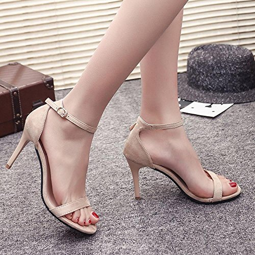 Sandalias verano bloque abierto Negro de Moda altos tobillo Beige tacones Longra Toe verano mujeres 34 zapatos sandalias de EU qwqFvzr5