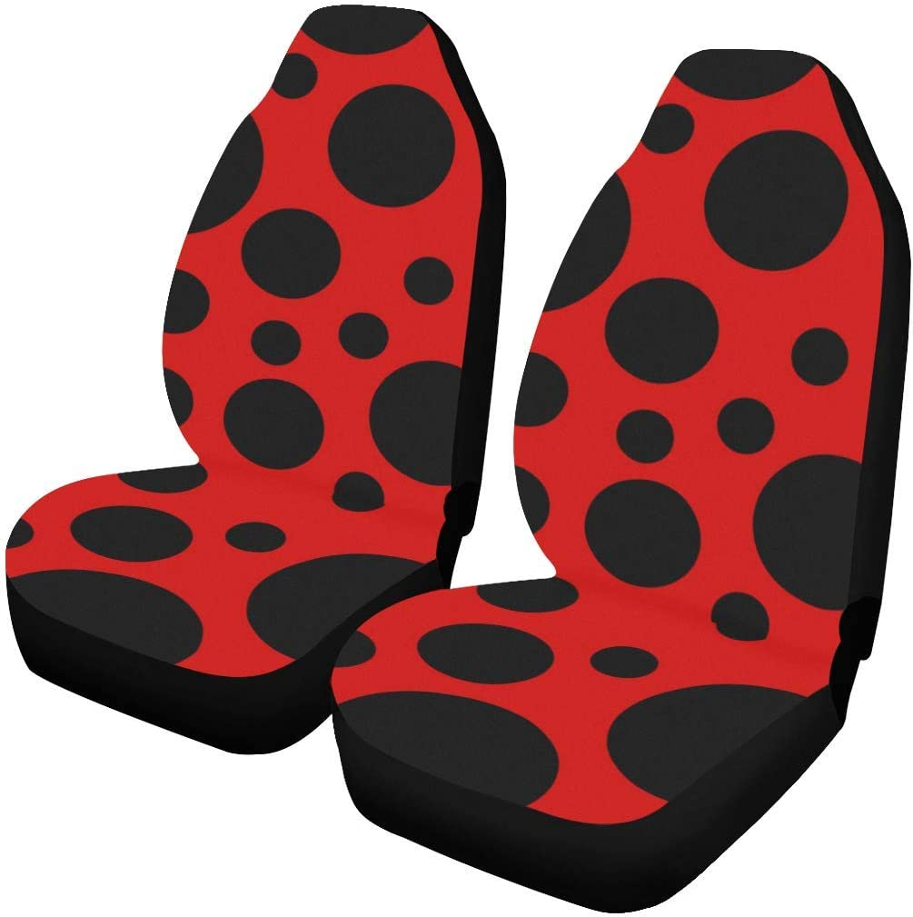 Polyester Fabric One Side Printing Protector Dust Proof Set of 2 INTERESTPRINT Ladybug Car Seat Covers