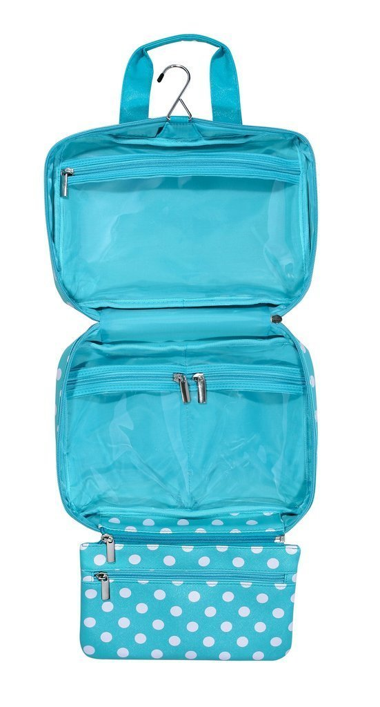 Audacia Para Colgar Turquesa Azul y blanco lunares cosméticos neceser de aseo de viaje para las mujeres y las niñas: Amazon.es: Belleza