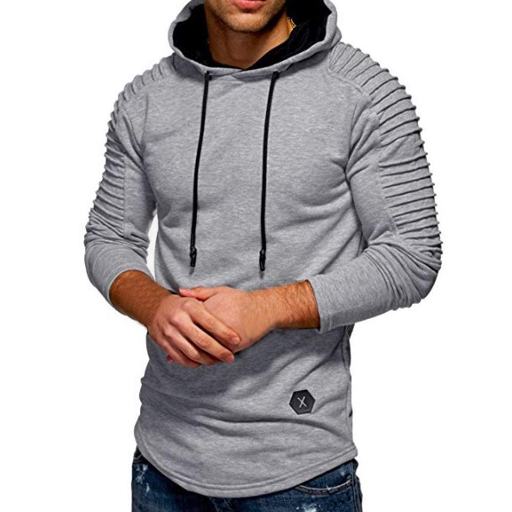 Pius Size Hoodies for Men, Corriee Fashion Fall Cotton Solid Slim Fit Outwear Tops Men's Pleat Long Sleeve Sweatshirts