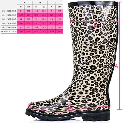 SPYLOVEBUY KARLIE Botas de Agua Goma Plano Botas Altas Estampado Leopardo