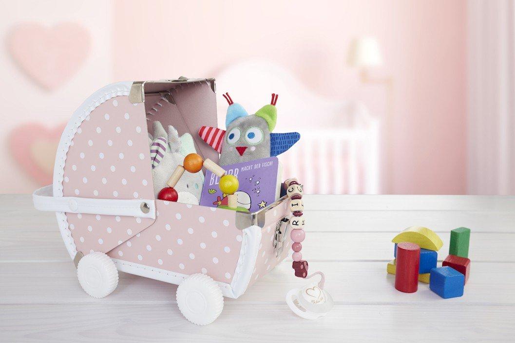 zur Taufe Baby Erinnerungsbox Farbe:Blau Schatzk/ästchen Aufbewahrungsbox Geschenk zur Geburt Kinderwagen ByBoom/®