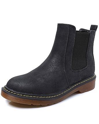 Minetom Donna Ladies Round Toe Chelsea Low Block Heel  Winter  Heel  709575