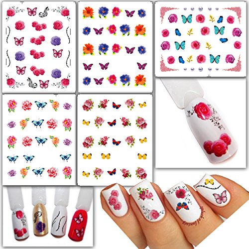 Price comparison product image Bright Water Transfer Tattoo Stickers /LD1/- Flowers & Butterflies Assorted Designs, pack of 5
