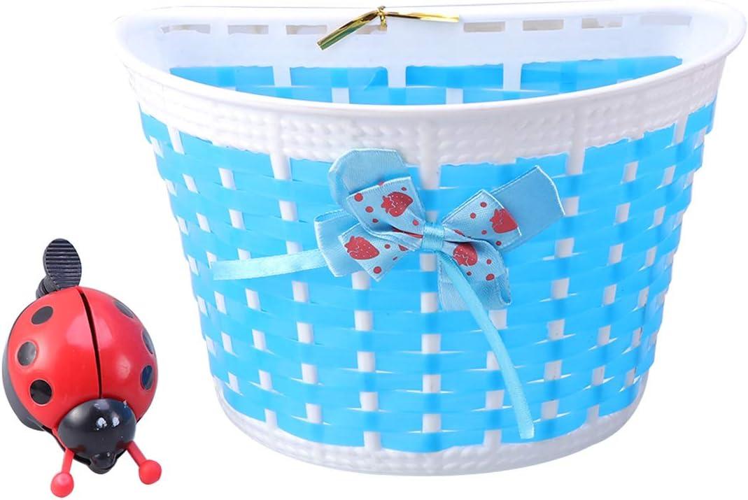 LIOOBO Bicycle Scooter Basket for Children Kids Boys Girls Bike Basket Plastic Knitted Bow Knot Front Handlebar Handmade Bag