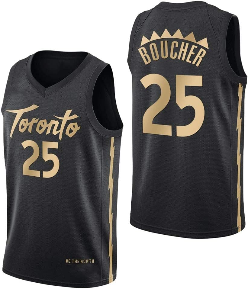 Basketball Uniform Swingman Suit Black Gold New Fabric Unisex Sleeveless T-Shirt Mens Basketball Jerseys #25 Boucher Toronto Raptors Team Champion Version