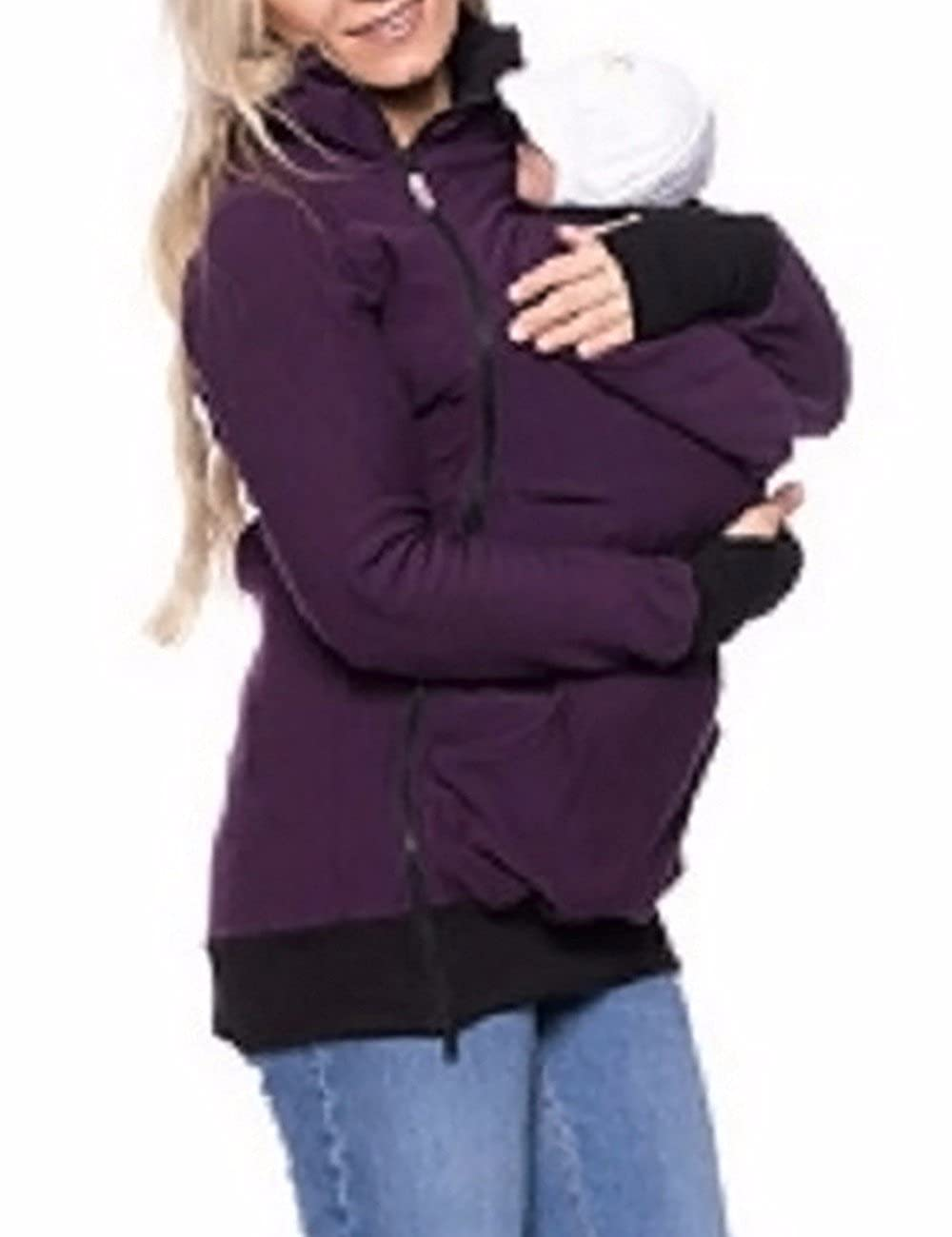 Sexyshine Women's Maternity Coat Zip Up Kangaroo Hoodie Jacket Outwear For Baby