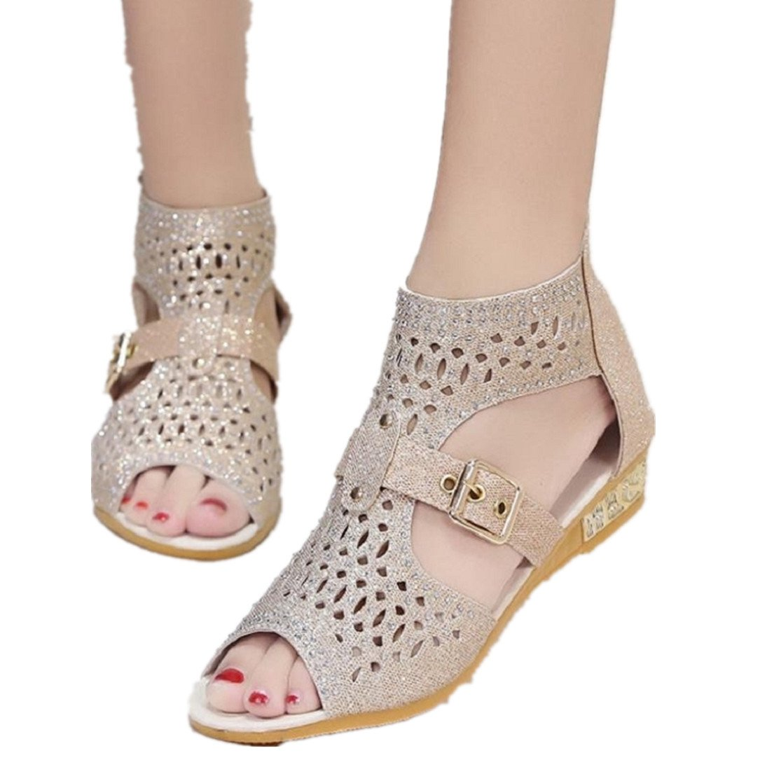 Fheaven Women Summer Wedge Sandals Hollow Out Side Pumps Sexy Buckle Strap Shoes (China size:38(US:6.5), Beige)