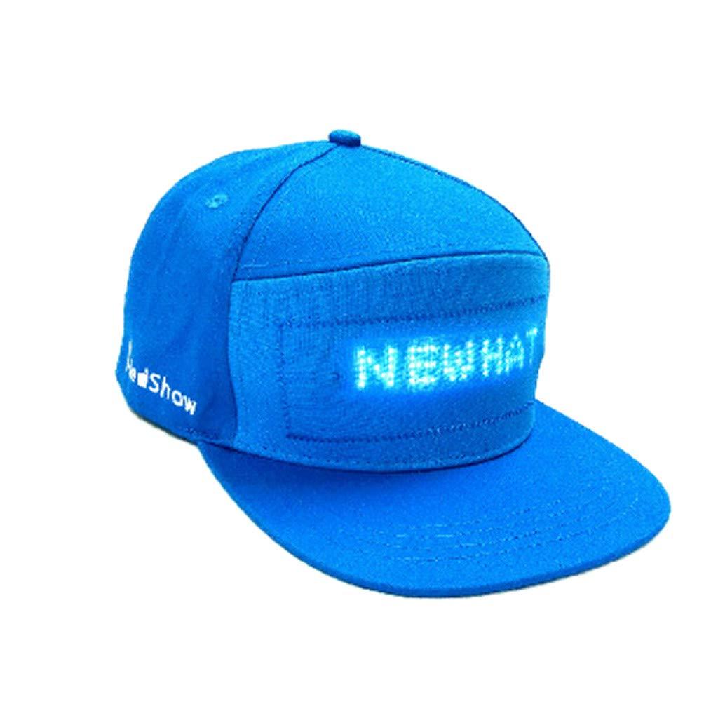 certainPL LED帽子 スクリーンライト付き 防水スマートフォンコントロール ユニセックス野球帽 パーティー ヒップホップ ランニング ハンティング ジョギングなどに最適  ブルー B07P54Z9HJ