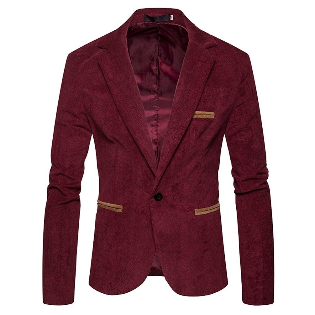 ZhiYuanAN Giacca Da Uomo In Velluto A Coste Slim Fit Blazer Un Pulsante Smart Coat Tinta Unita Casual Business Cappotto Giubbotti