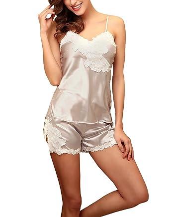 4Ping Women s Sexy Silk Pajamas Set Summer Lace Sexy Lingerie Hot Pants  Beige M 24d420da7
