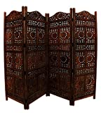 Bring home this beautifully hand carved wooden partition screen featuring sun and moon designs. It divides your large spacious rooms gracefully and create a charismatic vibe all around. This room divider is made of quality mango wood that is ...