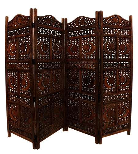 Benzara BM34821 Hand Carved Sun And Moon Design Foldable 4-Panel Wooden Partition Screen/Room Divider, Brown from Benzara