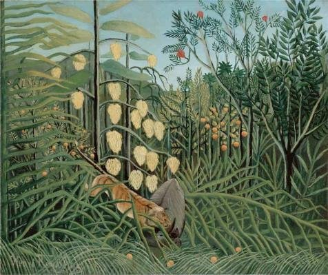 - Oil Painting 'In A Tropical Forest Struggle Between Tiger And Bull,1909 By Henri Rousseau' Printing On Perfect Effect Canvas , 18x21 Inch / 46x55 Cm ,the Best Dining Room Artwork And Home Artwork And Gifts Is This High Quality Art Decorative Prints On Canvas