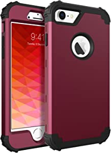 BENTOBEN iPhone 8 Case, iPhone 7 Case, 3 in 1 Hybrid Hard PC Soft Silicone Rubber Bumper Heavy Duty Shockproof Slim Full Body Protective Phone Cases Cover for iPhone 8 & iPhone 7 (4.7 Inch) Wine Red