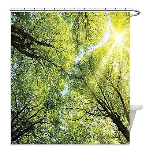 The Shining Costume Scene (Liguo88 Custom Waterproof Bathroom Shower Curtain Polyester Farm House Decor Collection The Warm Spring Sun Shining Through the Canopy of Tall Beech Trees Romantic Scene Green Yellow Decorative bathr)