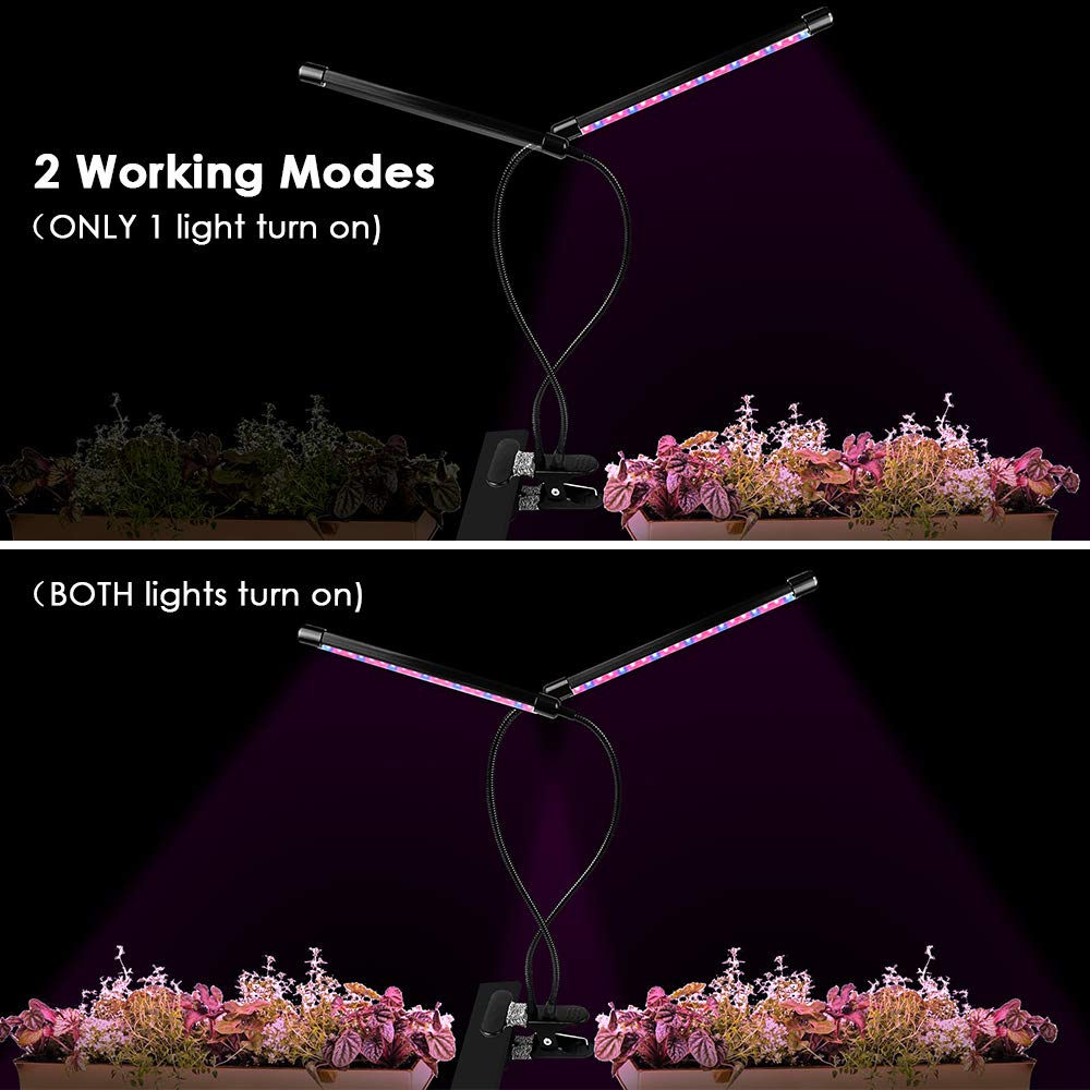 LOFTER Indoor LED Plant Lights, Small Grow Lights for Seedlings Dual Head LED Grow Lamp with Timer Plant Lights for Indoor Plants - 5 Dimming Levels by LOFTer (Image #3)