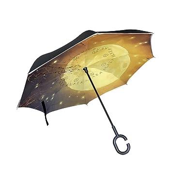 Mnsruu Paraguas invertido de Doble Capa Dorado Redondo Luna ...