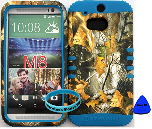 Wireless Fones TM Case Cover HTC One M8 Mossy Camouflage One Oak Camo Snap on + Blue Silicone Hybrid Rocker KoolCase Cover with Wristband and Pry Tool Exclusively By Wirelessfones TM