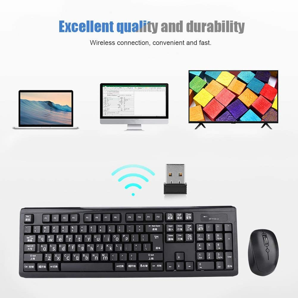 Wubi Input Method Multi-Functional 2.4G 1000DPI Mechanical Keyboard Optical Mouse Comb for Computer for Laptop Game Serounder Wireless Keyboard Mouse Kit