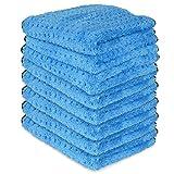 Liquid X Blue Xtreme Plush Waffle Weave Microfiber Detailing Towel Guaranteed Satisfaction - 16'' x 16'' (8 Pack)