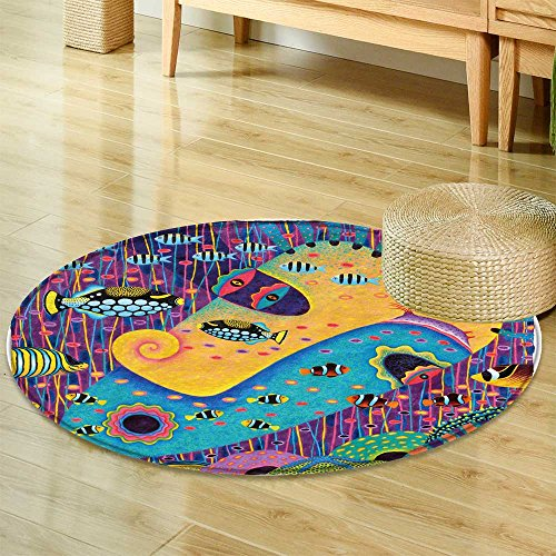- Round Rugs for Bedroom my wife acrylic oil pastel  Circle Rugs for Living Room -Round 71