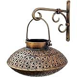 Indune Lifestyle Iron Wall Bracket With Perforated Degchi Tea Light Holder - Antique Golden