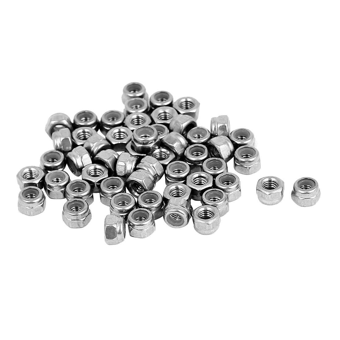 100 PCS M3 Nylon Insert Hex Lock Nuts Stainless Steel 304