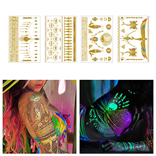 Tattify Metallic Glow In the Dark Temporary Tattoos, Be Bright, Set of 4 by Tattify