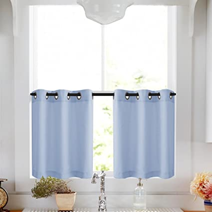 Short Window Tiers Curtains for Kitchen Casual Weave Tier Café Curtains  Semi Sheer Curtains for Living Room 2 Panels, Light Blue, 24 Inch Long