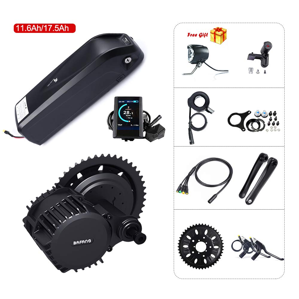 850C color Display 68mm 46T with battery 17.5Ah 8fun Bafang BBSHD BBS03 48V 1000W Mid Motor Ebike Conversion Kit with Hailong Lithium Battery 11.6Ah 17.5Ah