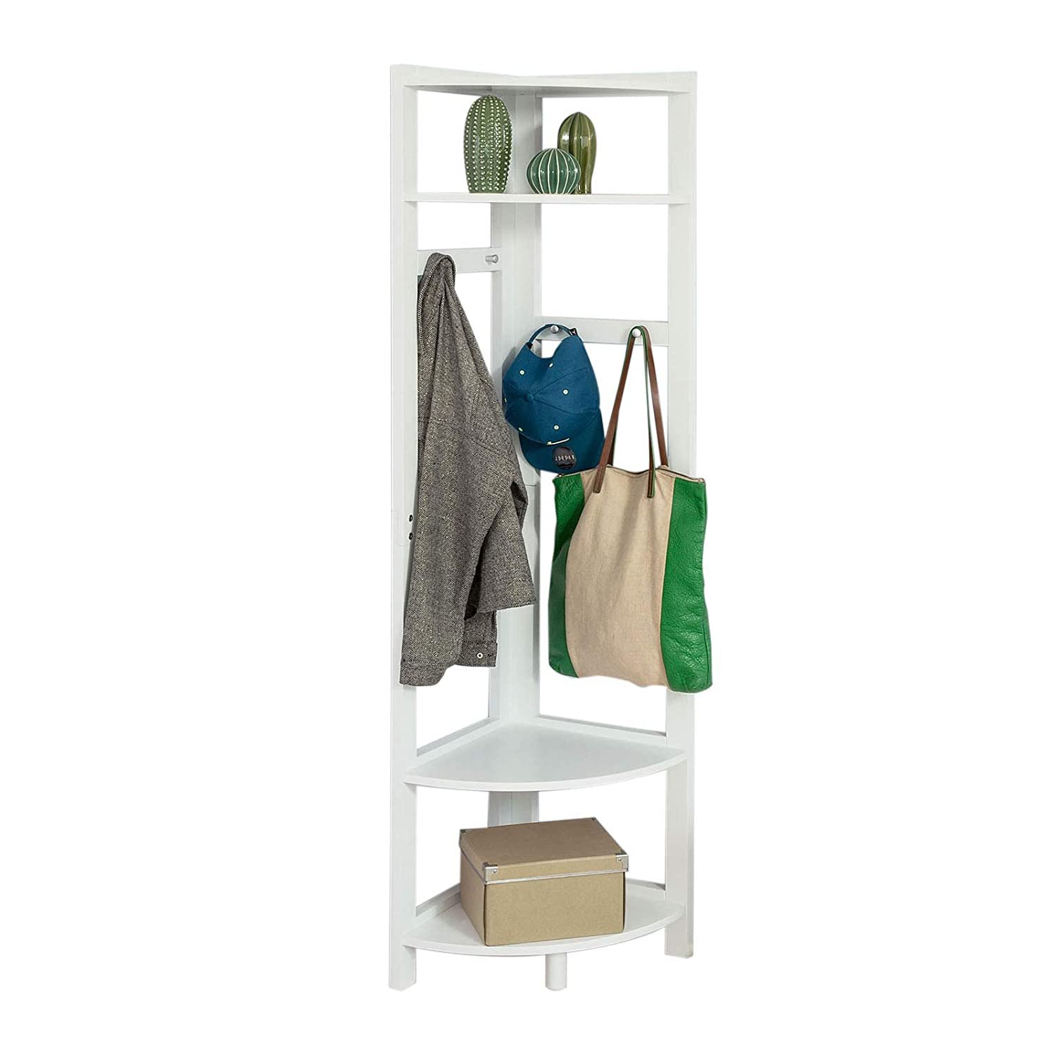 SoBuy Promotion -20% FRG250-W, 4 Tiers Corner Shelf Storage Display Shelving Unit, Hallway Corner Coat Rack, 40x40x170cm, White