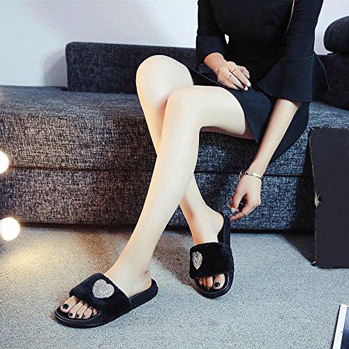 Cuore scarpe A Scarpe Bassi Spiaggia Casual Donna Ginli Sandali Estivi E Forma Per Sandali Nero Di Scarpette Da Con Paillettes aOwY5x