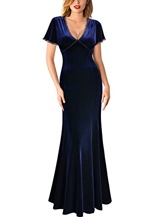 1391db7285 MIUSOL Women's V Neck Fishtail Velvet Long Evening Dress: Amazon.co ...