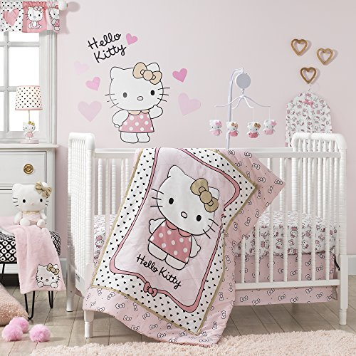 - Bedtime Originals Hello Kitty Luv Hearts 3 Piece Crib Bedding Set, Pink/Gold