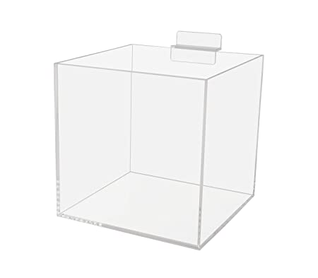 6 Acrylic Slatwall Box Retail Merchandise Bins Product Organizer 5 Sided Clear Acrylic Display Box Pack of 2