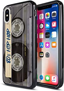 FINCIBO Case Compatible with Apple iPhone X XS 5.8 inch, Slim Shock Absorbing TPU Bumper + Clear Hard Protective Case Cover for iPhone X XS - Retro Clear Cassette Tape Hip Hop