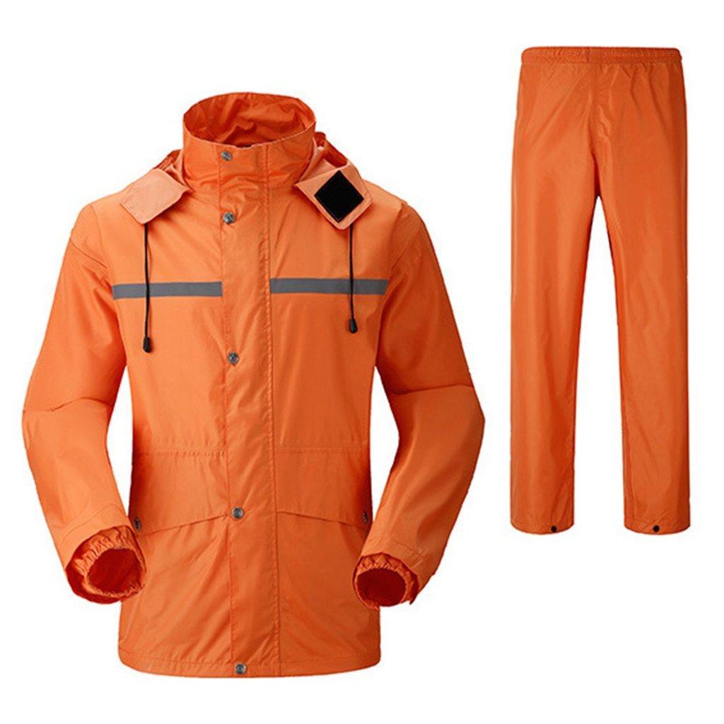 レインコート 上下セット 男女兼用 レインスーツ 通湿性 防水 軽量 二重構造 メッシュ付き 快適 高品質 自転車 バイク 通学 通勤に対応 アウトドア 全5色 Mー4XL B07D5QP3XK L|オレンジ オレンジ L