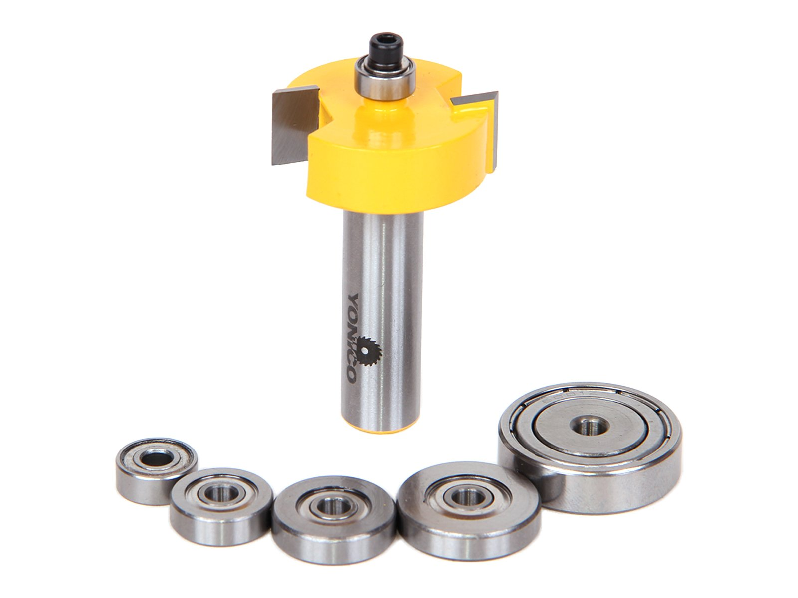 Yonico 14705 Rabbet Router Bit with 6 Bearings Set 1/2-Inch Shank