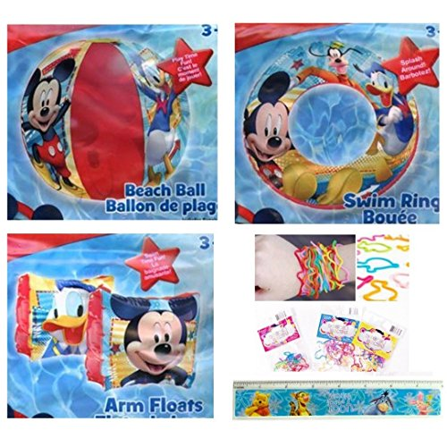 (5 Items: Inflatable Mickey Mouse Inflatable Pool Toys for Kids (3 Pieces) + Ruler + 12 Silicone Bracelets: Beach Ball (14