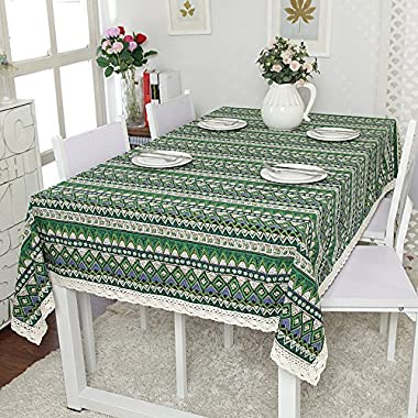 ColorBird 1 pc Bohemian Style Geometric Design Rectangle Tablecloth Linen Lace Table Cloth Dinning Table Cover (55'' x 70'', Green with Lace)