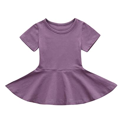 05d76a0d5e68c Ankola Girl's Summer Dress,Baby Girl Candy Color Short Sleeve Solid  Princess Tutu Casual Toddler