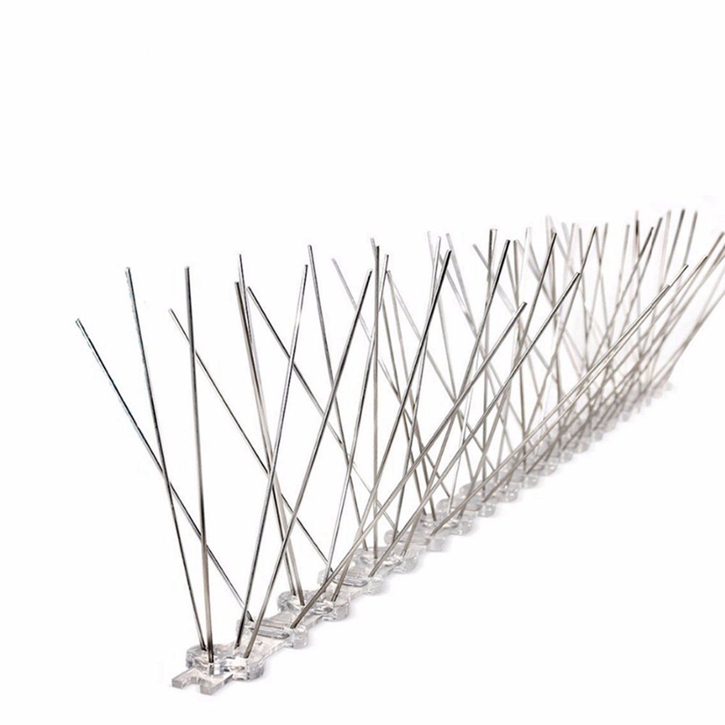 WANK Stainless Steel Bird Spike Strips,4 Row Pins Clear UV Protected Base,1 Pack