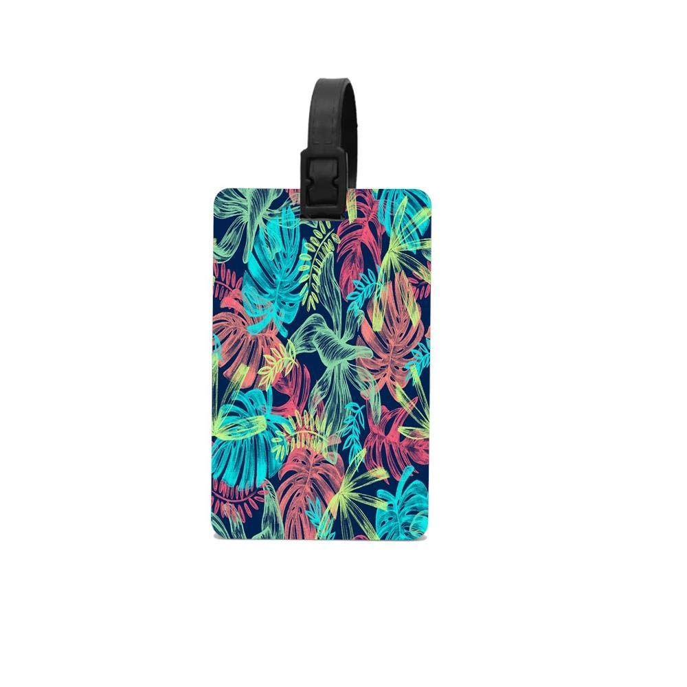 Leaves Tropical Picture Plant Baggage ID Suitcase Labels Accessories for Women Men PVC Luggage Tag Travel 2.2 x 3.7