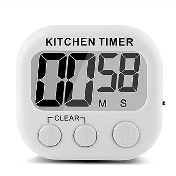Compra GIANCOMICS® Reloj Avisador Digital de Cocina con LCD Pantalla Temporizadores de Cocina Cronónetro Electrónica Temporizador de memoria Color Blanco en ...